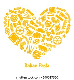 Italian pasta. Illustration in heart shape. Great for menu, banner, flyer, card, business promote.