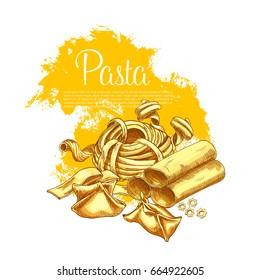 Italian pasta poster of hand-crafted tagliatelle, ravioli or spaghetti and farfalle. Vector sorts of durum pappardelle, fettuccine and lasagna or funghetto and fagottini for pasta cuisine restaurant