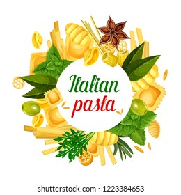 Italian pasta poster with ravioli, gnocchi or ditalini and rotelle macaroni, tortellini or oregghiette. Vector pasta cooking olive and basil ingredient, Italian traditional cuisine or restaurant menu