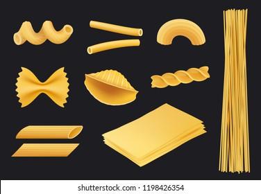Italian pasta realistic icon. Traditional food spaghetti macaroni fusilli cooking yellow ingredients vector pictures isolated. Cooking italian spaghetti, collection menu macaroni pasta illustration