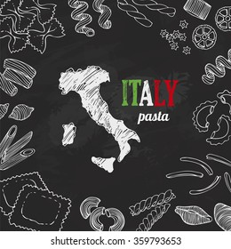 Italian pasta set, hand drawn set with vector Italy elements for food design, food ingredients, cafe menu, template design