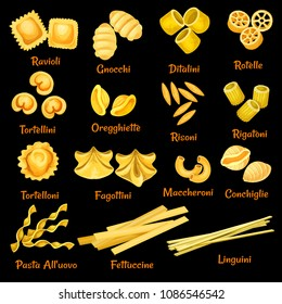 Italian pasta sorts or types icons. Vector isolated set of ravioli, gnocchi or ditalini and rotelle, tortellini or oregghiette and risoni, traditional Italy cuisine fettuccine and linguini