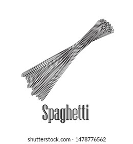 Italian pasta Spaghetti. Home made pasta. Hand drawn sketch style illustration of traditional italian food. Best for menu designs and packaging. Vector drawing isolated on white background.