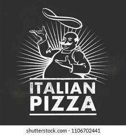 Italian pizza chef. Retro vector illustration on black background.