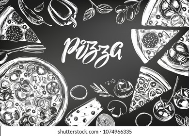 Italian pizza , collection of pizza with ingredients, logo, hand drawn vector illustration realistic sketch , drawn in chalk on a black board