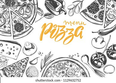 Italian pizza , collection of pizza with ingredients, logo, hand drawn vector illustration realistic sketch ,