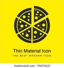Italian pizza cut into slices bright yellow material minimal icon or logo design