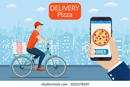 Italian pizza delivery poster with courier on bicycle. Online ordering food on home, product shipping. Vector illustration in flat style