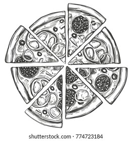 Pizza Drawing Images Stock Photos Vectors Shutterstock