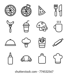 Italian pizza icons set. Minimalist pizza cooking related icon contain pizza slice, mushroom, sausage, bread, etc.