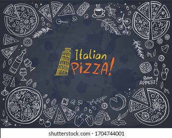 Italian pizza and ingredients on chalkboard. Vector illustration. Perfect for food menu design template.
