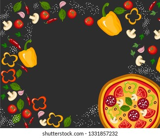 Italian pizza and ingredients top view frame. Italian food menu design template. Vintage hand drawn sketch, vector illustration. Engraved style illustration. Pizzas label for menu.