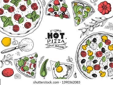 Italian pizza and ingredients top view frame. Italian food menu design template. Vintage hand drawn sketch, vector illustration. Engraved style illustration. Pizza label for menu.  Pizza shop  design.