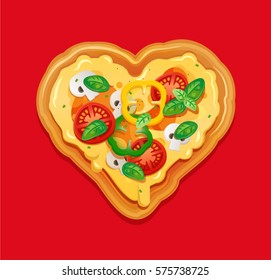 Italian pizza isolated element for pizzeria banner, card. Pizza in the shape of a heart, with cheese, tomatoes, peppers and mushrooms ingredients.