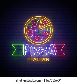Italian pizza. Logo for pizza restaurant with italian flag. Fast food. Pizza logo, banner, emblem and label, bright sign. Neon sign. Vector illustration