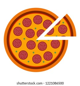 Italian pizza pepperoni in flat style. vector illustration of sliced pizza isolated on white background. Set of different pizza top view