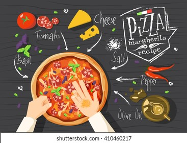 Italian pizza recipe. Margherita pizza. Cooking pizza with ingredients