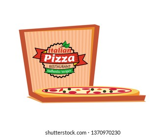 Italian pizza restaurant authentic recipes vector, isolated logo of cafe. Delivery and order of food in carton box, slices with salami and cheese logotype