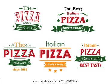 Italian pizza restaurant labels in combination of red, green and yellow colors with ribbon banners and text Fresh and Hot, Best Tasty and Delivery for pizza box and menu design