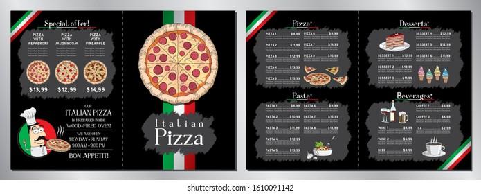 Italian pizza restaurant menu template - 2 x A4 (210x297 mm)