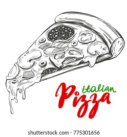 Italian pizza slice , Pizza design template, logo hand drawn vector illustration realistic sketch