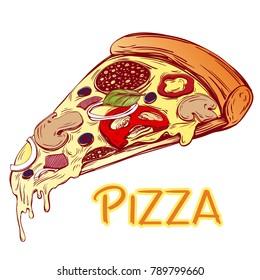 Italian pizza slice , Pizza design template, logo hand drawn vector illustration realistic sketch