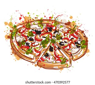 Italian pizza with splashes in watercolor style. Hand drawn vector illustration