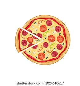 Italian pizza with tomato, sausage, pepperoni and mushrooms. top view. pizza with slice. Vector illustration in flat style