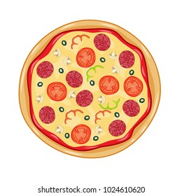 Italian pizza with tomato, sausage, pepperoni and mushrooms. top view. Vector illustration in flat style