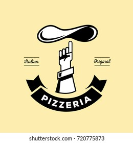 Italian pizzeria logo design with hand point to top fresh pizza dough