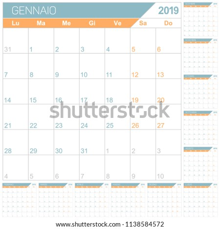 Italian Planning Calendar 2019 English Calendar Stock Vector
