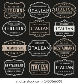 Italian Premium Quality Stamp. Frames. Grunge Design. Icon Art Vector. Old Style Frames.