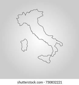 Italian Republic isolated map on white background. political maps icons.