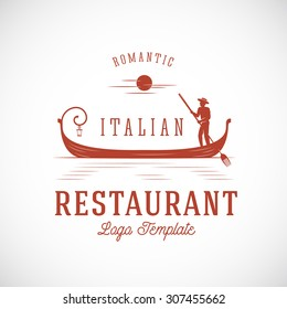 Italian Restaurant Abstract Vector Concept Logo Template. Isolated.