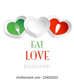 Italian restaurant and bar logo, three italian hearts, eat and love italian food
