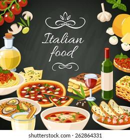 Italian restaurant food background with olives pasta garlic spaghetti pizza vector illustration