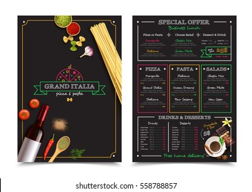 Italian restaurant menu with special offer for business lunch design elements on black background isolated vector illustration