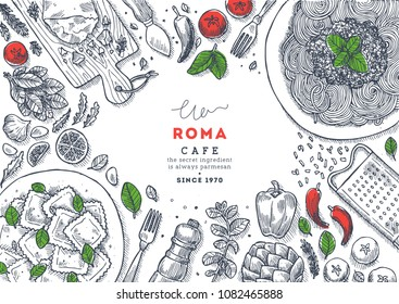 Italian restaurant menu top view illustration. Spagetti and ravioli table background. Engraved style illustration. Hero image. Vector illustration