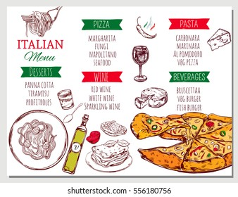 Italian restaurant menu with traditional dishes and beverages of national cuisine in sketch style vector illustration