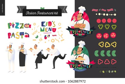 Italian restaurant set - branding, logo and menu constructor - kit of restaurant logo, cooks and waiters wearing the uniform holding a dish of pasta with red bolognese sauce and other italian food