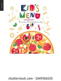 Italian restaurant set - pizza and lettering Kids menu
