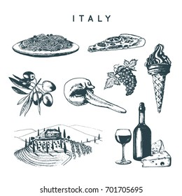 Italian set of sketches. Hand drawn illustrations of Italy travel symbols. Vector touristic signs of Mediterranean vacations.
