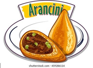 Italian snack - Arancini - vector