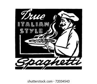 Italian Style Spaghetti - Retro Ad Art Banner