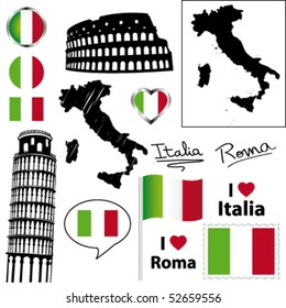 Italian symbols and icons. Vector collection.
