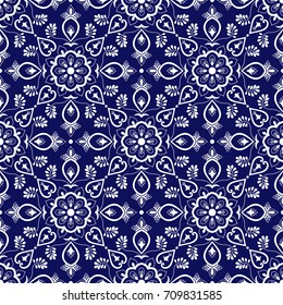 Italian tile pattern vector with blue and white ornaments. Portuguese azulejo, mexican talavera, spanish majolica or delft dutch motifs. Tiled ceramic texture for kitchen wall or bathroom flooring.