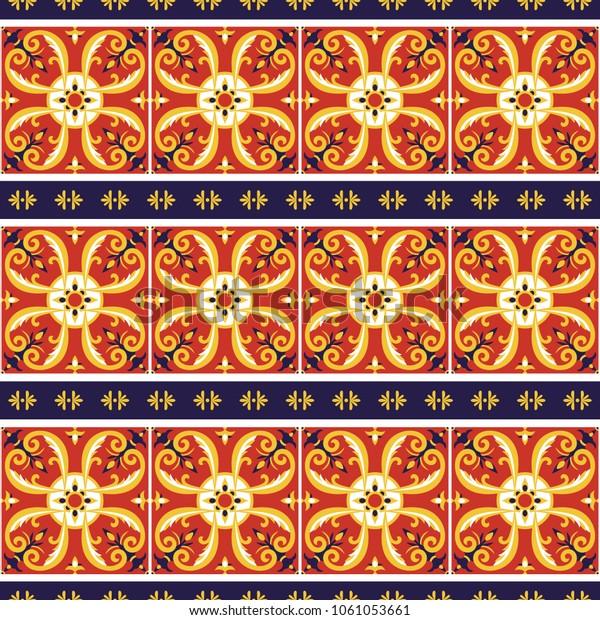 Italian Tile Pattern Vector Border Flower Stock Vector