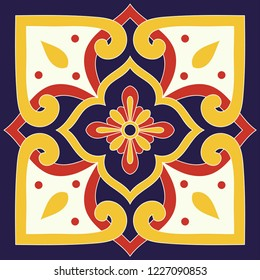 Italian tile pattern vector with floral ornaments motifs. Italy sicily print. Portuguese azulejo, mexican talavera, spanish majolica. Mosaic ceramic texture for bathroom or kitchen wallpaper.