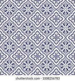 Italian tile pattern vector seamless with flower ornaments. Portuguese azulejo, mexican talavera, spanish majolica or delft dutch. Tiled background for ceramic kitchen wall or bathroom mosaic floor.