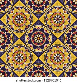 Italian tile pattern vector seamless with mosaic motifs. Portuguese azulejos, mexican talavera, spanish, italy sicily majolica or moroccan ceramic. Texture for wallpaper or kitchen floor.